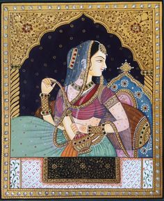 Mughal Paintings, Persian Miniatures, Rajasthani art and other fine Indian paintings for sale at the best value and selection. Mughal Paintings, Tanjore Painting, Indian Paintings, Rajasthani Painting, Rajasthani Art, Gold Wall, Indiana, Art Indien, Madhubani Art