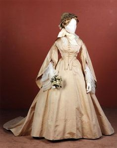 Wedding dress, American made, 1863-64
