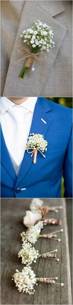 wedding boutonnieres with baby's breath