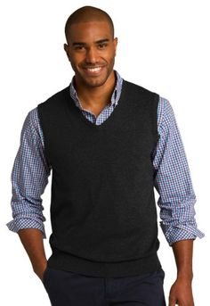 Port Authority Mens Sweater Vest - Black SW286 3XL