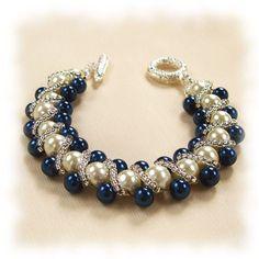 Blue Bead woven Bracelet