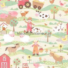 Leven op de boerderij pastelkleuren behang G45131 uit de collectie Tiny Tots van Noordwand koop je bij kleurmijninterieur