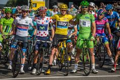 All Access Gallery: Racing to the Champs Elysees - The jerseys of the 2013 Tour de France take the start line in Versailles: Andrew Talansky (wearing white for Nairo Quintana), Quintana (mountains), Chris Froome (general), and Peter Sagan (points). Photo: BrakeThrough Media | VeloNews.com