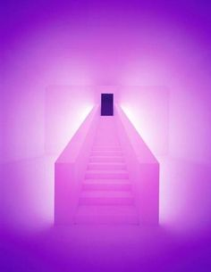 Bridget's Bardo by James Turrell  A walk-in light installation flooded with slowly changing colored light.
