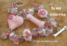 Pretty in pink - handmade one of a kind lampwork dog lover bracelet from For Love of a Dog.  Gorgeous handcrafted glass dog bone, big puffy heart and sweet paw print bead in pink with raspberry highlights.  Adorable silver dog collar and dog bone toggle clasp. Pale pink crystals for lots of sparkle! Perfect Valentine Day's gift for any dog lover.  Fetch more photos and info http://forloveofadog.com/item_1548/Hot-Pink-Bling-Bracelet-Dog-Bone-Heart-Paw-Print.htm