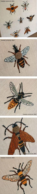 вышивка гладь пчела