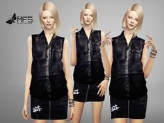 Leather sleeveless shirt. Standalone, Hq texture, custom thumbnail, one color. Mesh edit by me. Found in TSR Category 'Sims 4 Female Everyday'