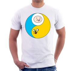 Our adventure time graphic t-shirt is hilarious. This t-shirt features the characters from adventure time finn and jake creating a yin and yang figure. Adventure Time was an extremely successful show