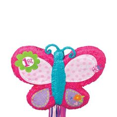 Pull String 1st Birthday Butterfly Pinata
