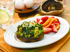 Herbed Spinach Quiche Portabella Caps #veggies #protein #dairy #MyPlate #WhatsCooking
