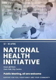 A creative promotional poster template. A background image of healthcare professionals and white text displaying national health initiative.