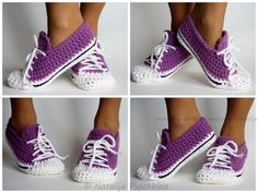 Crochet Sneakers Slippers Pattern is part of Knitting and Crochet Patterns Slipper Socks - You will love this collection of Crochet Sneakers Slippers Pattern Ideas and we have lots of free versions for you included Check out all the ideas now Quick Crochet Patterns, Knitting Patterns, Crocheting Patterns, Free Crochet Slipper Patterns, Crochet Ideas, Crochet Slippers, Knit Crochet, Ravelry Crochet, Crochet Baby