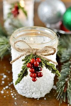Items needed : Americana Decou-Page (Glue-Sealer-Finish) 2oz - Americana Decou-Page Matte Epsom Salt Mason Jars Brush Optional: twine, Christmas picks