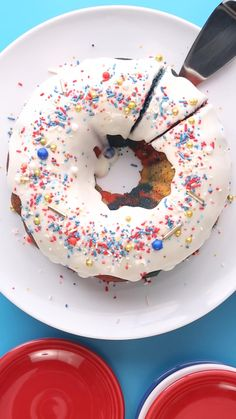 Here's the Fourth of July dessert recipe you've been looking for. This red, white and blue dessert is sure to make your barbecue party the best. Don't forget the festive sprinkles! #bundtcake #4thofjuly #dessert #party #bhg Fourth Of July Cakes, 4th Of July Desserts, Fourth Of July Food, Holiday Desserts, Dessert Bars, Dessert Recipes, Blue Desserts, Ice Cream Candy, Something Sweet