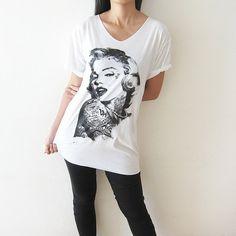 6d0ffe276ef Marilyn Monroe Shirt TShirt White Women V Neck T by PunkRockTshirt