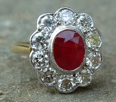 Antique Gold Diamond and Ruby Ring circa 1880
