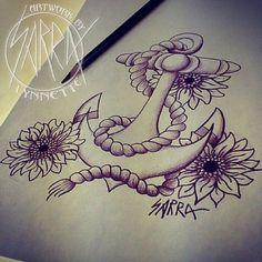 Sunflower anchor tattoo design by Sarra Lynnette Tats!,Tattoo This,Tattoos,Tattoos & Piercings,Tattoos/Piercings Tattoos Skull, Leg Tattoos, Sleeve Tattoos, Cool Tattoos, Tatoos, Anchor Sleeve Tattoo, Anchor Tattoos, Piercing Tattoo, I Tattoo