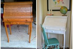 how to paint roll top desk before and after white paint