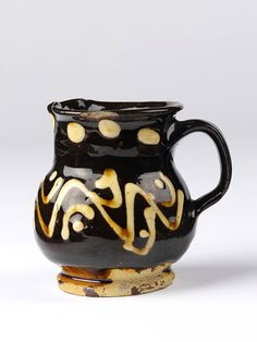 Cream jug, lead-glazed earthenware with slip decoration. English, Staffordshire, ca. Antique Pottery, Ceramic Pottery, Pottery Art, Earthenware, Stoneware, Pottery Workshop, Art Nouveau, Ceramic Pitcher, Tea Bowls