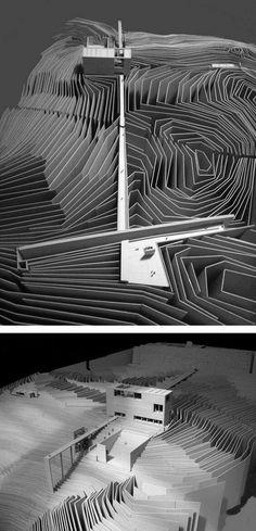maquette architecture Museum of the Volcanoes in Santorini Maquette Architecture, Landscape Architecture Model, Landscape Model, Architecture Graphics, Concept Architecture, Architecture Drawings, Landscape Design, Architecture Design, Architecture Portfolio