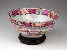 Famille Rose Mandarin 18th century punch bowl