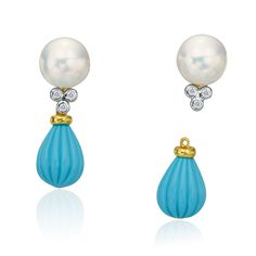 Yellow and white gold pearl earrings with detachable turquoise drop designed by The Mazza Company