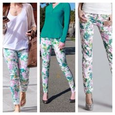 "7 For All Mankind Floral Print Skinny Jeans Girls size 14. Brand new with tags. 27"" inseam. Would fit a size 0-224""-26"" waist 7 for all Mankind Jeans Skinny"