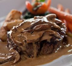 Heavenly Steak Diane ~A juicy filet mignon covered in a cognac cream sauce with grilled mushrooms.