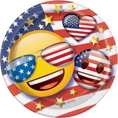 """9"""" Patriotic Emoji Party Plates, 8ct"""