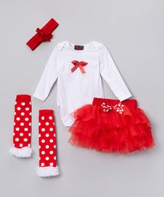 Look what I found on #zulily! Red Bow Bodysuit Set - Infant #zulilyfinds