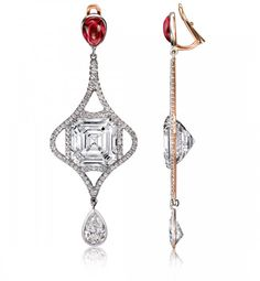 Sotheby's Diamonds - Lattice Earrings. To find one magnificent diamond is rare enough, but to find two perfectly matched is extraordinary. Each centering a square emerald-cut diamond, weighing a total of 20.34 carats, with additional pavé set diamonds. Suspended from cabochon spinels. Mounted in platinum and 18k rose gold.