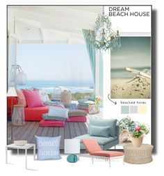 """The Beach House"" by sue-mes ❤ liked on Polyvore featuring interior, interiors, interior design, home, home decor, interior decorating, e by design, Dot & Bo, Grandin Road and Bloem"