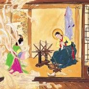 If Jesus Had Been Korean: 20 Rare Paintings of the Life of Christ by Korean artist Woonbo Kim Ki-chang [The Annunciation] Christian Paintings, Christian Art, Catholic Art, Religious Art, Korean Painting, Life Of Christ, Mary And Jesus, Madonna And Child, Korean Artist