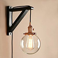 Pathson Industrial Stylish Plug In Wall Light Sconce Lamp Fixture Copper Lights with Globe Glass Lampshade for Loft Bar Kitchen Restaurant: Amazon.co.uk: Lighting