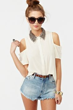 Total Stud Blouse - Cream by DaisyCombridge