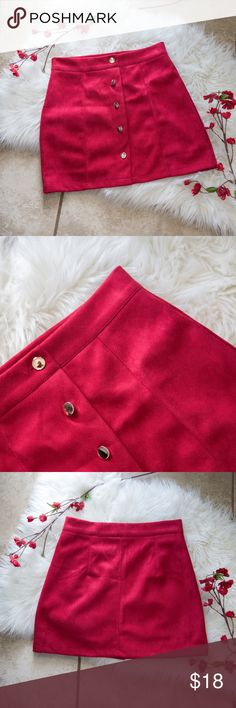 """🚒 Red High Waisted Suede Button Down Skirt 🚒 🚒 $40 BUNDLE DEAL 🚒 If you bundle this item and another with a firetruck emoji, """"🚒"""", I'll offer it to you for $40 and FREE shipping!   Red High Waisted Suede Button Down Skirt Suede leather. Waist: 23.6 in. Hip: 29.2 in. Length: 16.2 in.  ✴️ Reason for selling: I don't wear short skirts often enough, and this skirt is just too beautiful to stay hanging in my closet. ✴️ Only worn ONCE! Still in perfect condition.  Top Rated Seller: 4.9/5 ⭐…"""