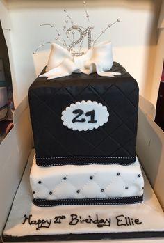 Black and white 21st birthday cake
