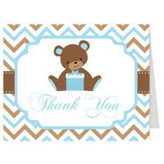 Chevron Teddy Bear Blue Thank You Card