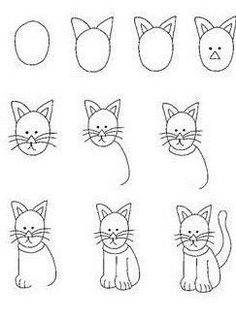Draw Cats cartoon critters - learn to draw lessons - using shapes - Doodle Art, Doodle Drawings, Easy Drawings, Animal Drawings, Cat Doodle, Drawing Lessons, Art Lessons, Drawing Techniques, Drawing Tips