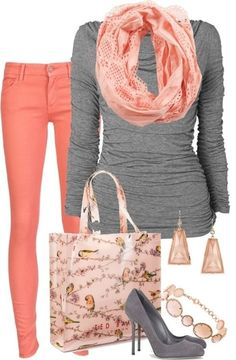 Coral or pink skinnys, grey v-neck long sleeve, starry pink infinity, grey boots or grey platform heels. Pearl cluster earrings and pearl bracelet. Coral clutch.