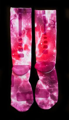 Custom Nike Elite Socks - Thesockgame.com — PINK KD Thunder Galaxies Custom Nike Elite Socks