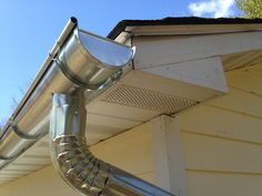 "Gutters - Half Round style, historic era appropriate, Hot Dip Galvanized Steel or White Aluminum - 6"" Half Round Galvanized Steel Gutters, 4"" Corrugated Leader Pipes & Elbows. Stone Ridge, New York 2014"