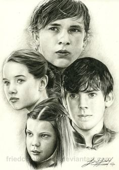 Peter, Susan, Edmund, and Lucy...drawings!
