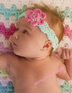 Babys crochet headband, Handmade in cotton, pink baby headband, Baby girl headband, flower headband, by KerryJayneDesigns, photo prop, gift...