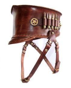 Steampunk leather shako hat (Anatoray Volunteer's 'Black Obelisk' Design 1) BROWN LEATHER AND AMMO HOLDER