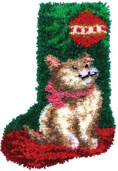 Cat Christmas Stocking Latch Hook Kit