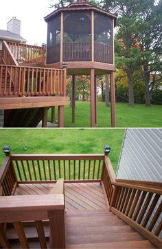 Designed And Built With Elegant Hardwood This Second Story Deck Screened In Gazebo