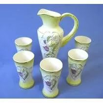 Jarra + 05 Copos Ceramica Nara - Sem Uso  (152,00)