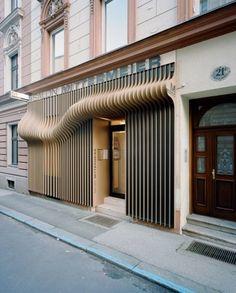 Salon Mittermeier,  Steingasse, Linz, Austria.  Attention grabbing façade of an Austrian hair salon.