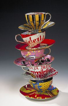 [CRAFT+DESIGN] Consuming Conversation by Harriete Estel Berman - tea cups made from recycled tin containers, sterling silver and brass handles Found Art, Mad Hatter Tea, My Cup Of Tea, Recycled Art, Recycled Materials, Decoupage, Altered Art, Altered Tins, Alice In Wonderland